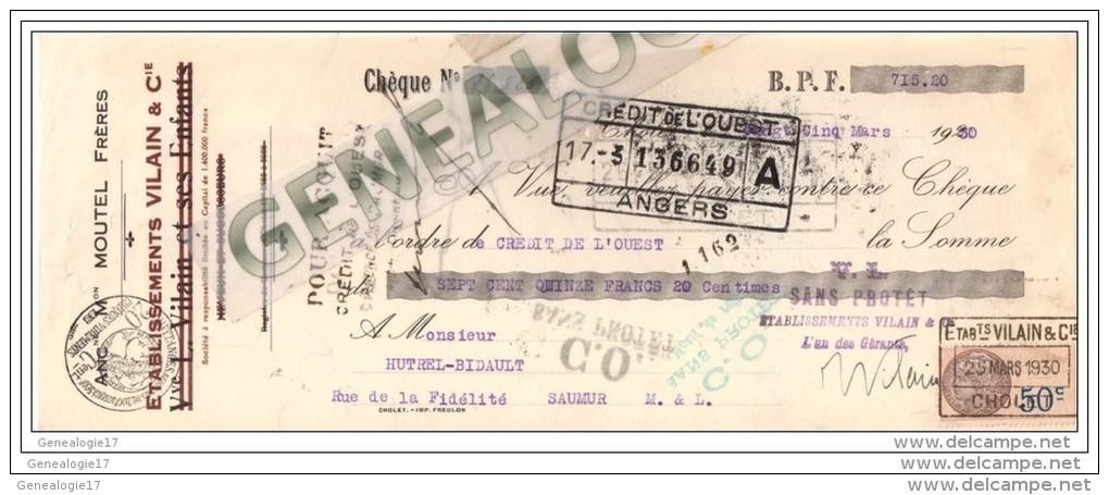 49 56 CHOLET Maine Loire Tisssage VILAIN Cie Succ MOUTEL Freres Mouchoir Drap 1930 Service à Thé Dest HUTREL - France