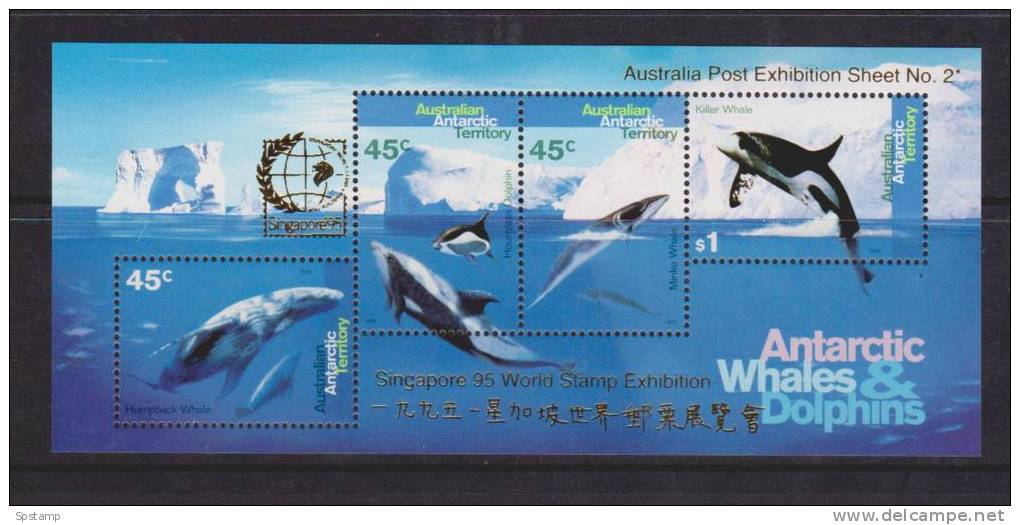 Australian Antarctic Territory 1995 Whale & Dolphin Miniature Sheet MNH Singapore Exhibition Overprint - Unused Stamps