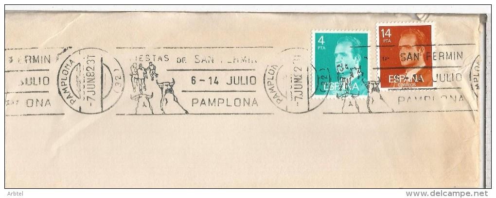 PAMPLONA NAVARRA FRAGMENTO CON MAT FIESTAS DE SAN FERMIN 1982 TOROS - Sin Clasificación
