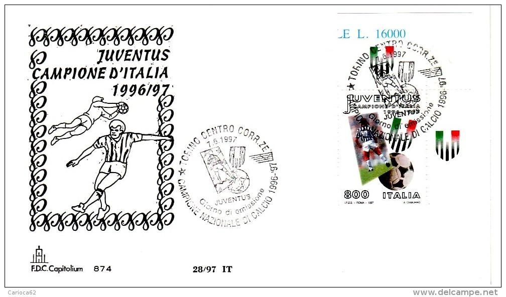 """1997 - FDC """" JUVENTUS CAMPIONE D' ITALIA """" CAPITOLIUM A. S. VEDI++++ - FDC"""