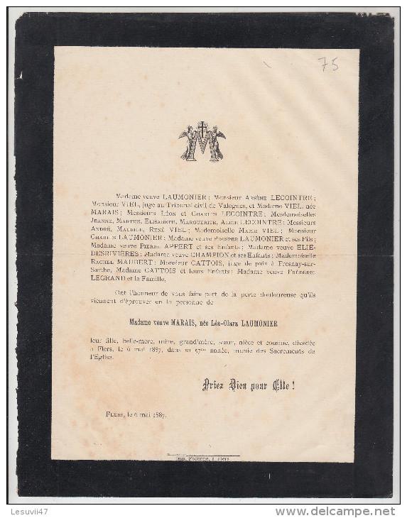 MADAME VEUVE MARAIS, Née LEA CLARA LAUMONIER, Décédée à Flers (61-Orne), 1887. - Esquela