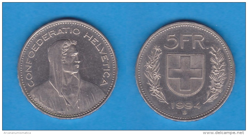 Suiza 5 Francos 1.994 Cu-Ni KM#40a.4   EBC/XF  DL-11.637 - Suiza