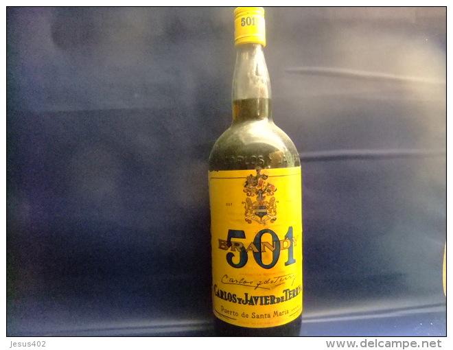ANTIGUA BOTELLA DE LITRO BRANDY 501 VINTAGE Años 1970 / 1980 - Licor Espirituoso