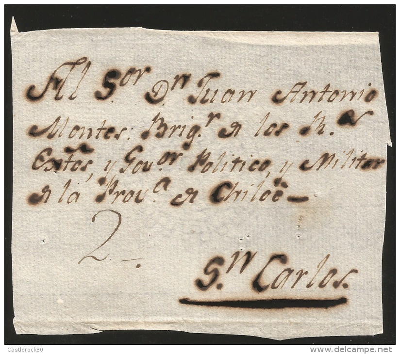 G)1800 PERU, COLONIAL FRONT COVER, 2 REALES MANUSCRIPT CIRCULATED TO CHILOE, INTERNAL USAGE, XF - Peru