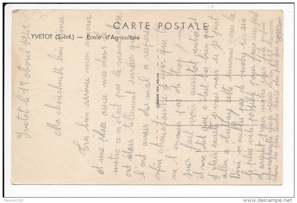 Carte D´ YVETOT  école D' Agriculture  ( Recto Verso ) - Yvetot