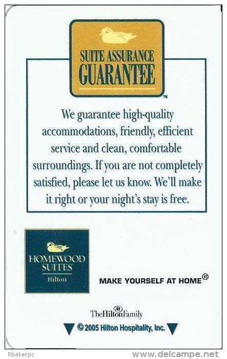 Homewood Suites By Hilton - Hotel Room Key Card - Cartes D'hotel