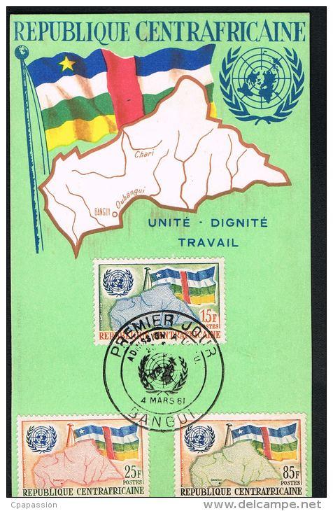 REPUBLIQUE CENTRAFRICANE  -Premier Jour 4 Mars 1961- 3 Timbres - Recto Verso - Paypal Free - Centrafricaine (République)