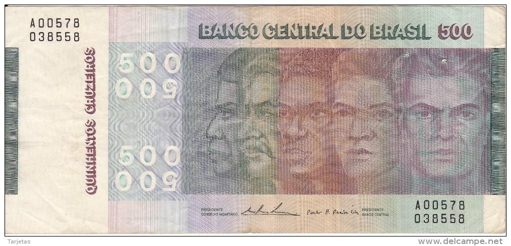 BILLETE DE BRASIL DE 500 CRUZEIROS DEL AÑO 1979 (BANK NOTE) - Brasil