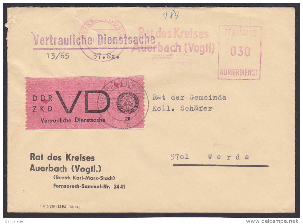 DDR ZKD Auerbach (Vogtland) VD-Marke (Mi-Nr. D1A 100,-) Vertrauliche Dienstsache Mit AFS =060= Rat Des Kreises - [6] Democratic Republic