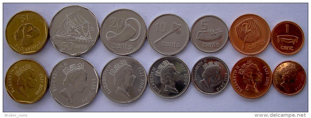 FIJI 2000-2009  SERIE 7 MONETE  1$  50-20-10-5-2-1 CENT FDC UNC - Figi