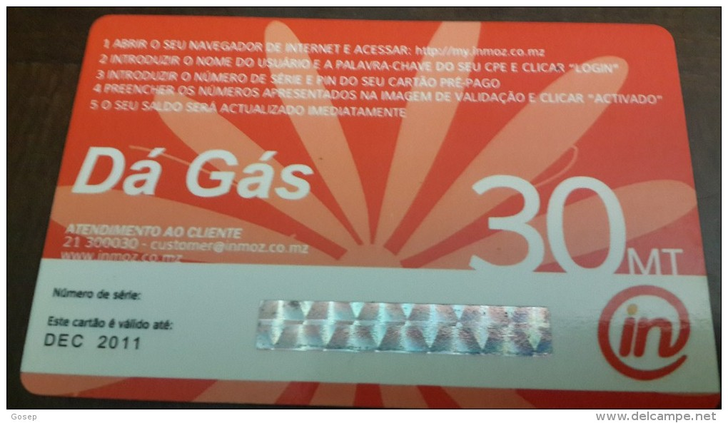 Mozambique-internet Pre-paga-(30mt)-da Gas-mint Card+2card Prepiad Free - Mozambique