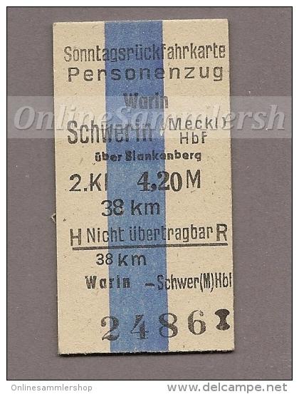 Pappfahrkarte Deutsche Reichsbahn --> Warin - Schwerin (Sonntagsrück) - Europa