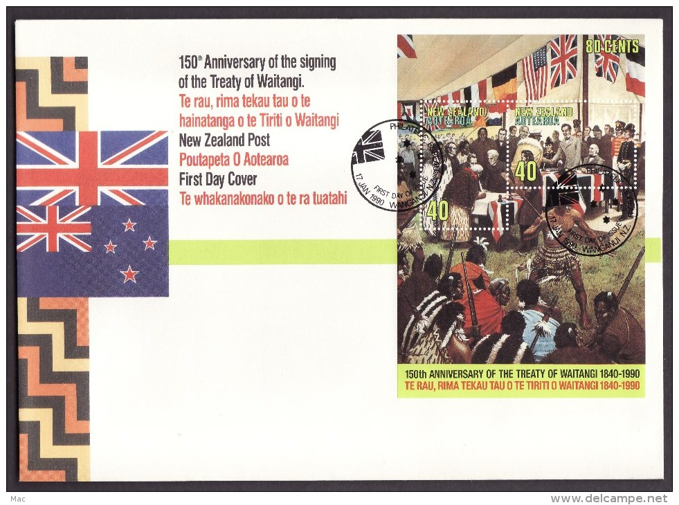 New Zealand #979 S/sheet F-VF Unaddressed Cacheted FDC - Treaty (1990) - FDC