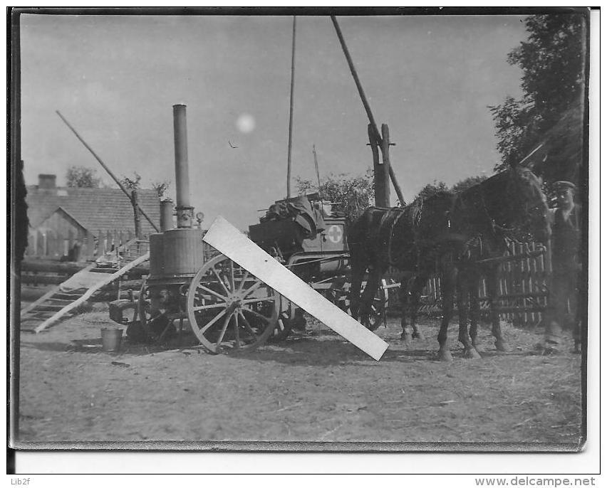 Ambulance Allemande Avec étuve Attelage Charriot Pologne Russie Puit Tyque 1 Photo 14-18 1914-1918 Ww1 Wk1 - War, Military