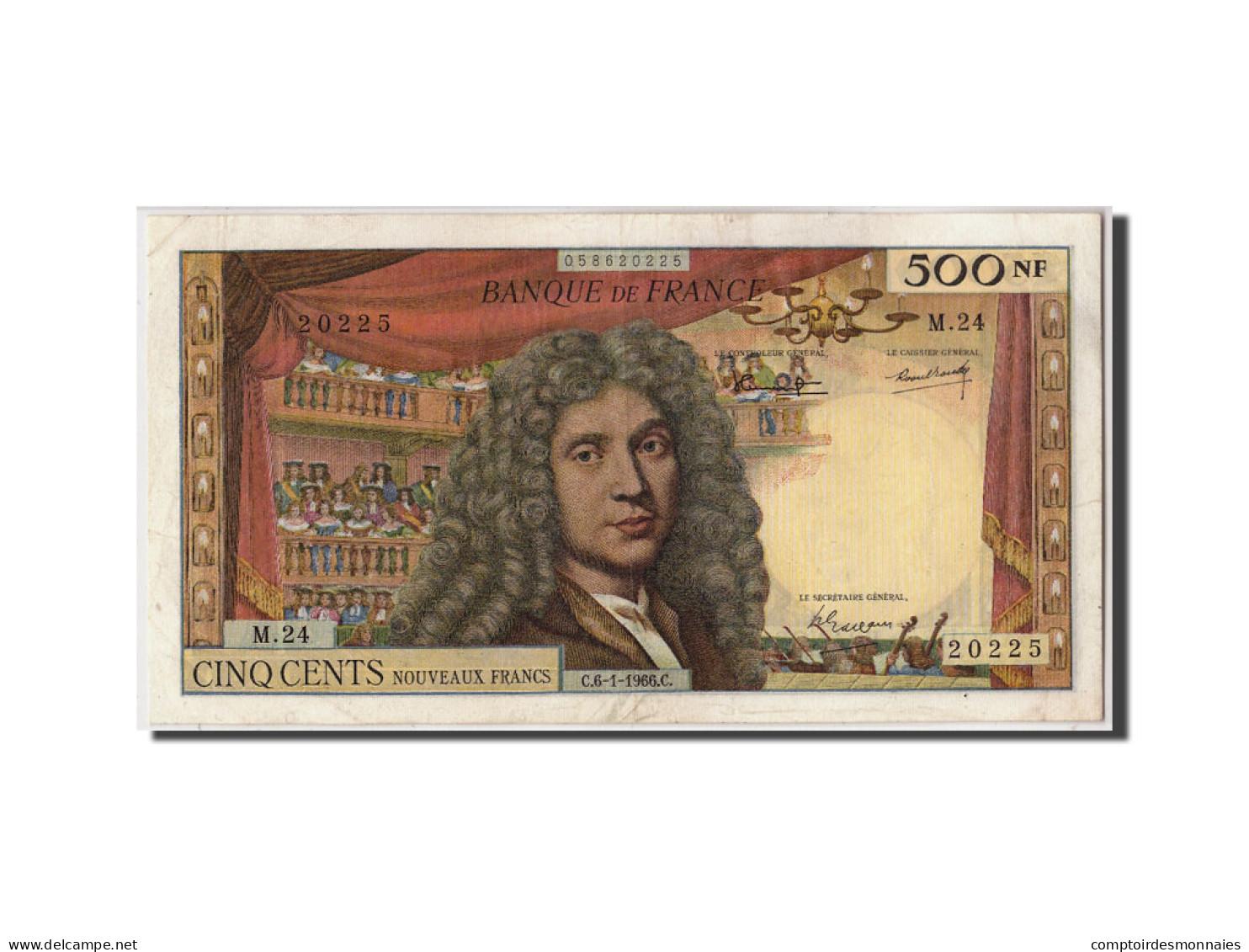 France, 500 Nouveaux Francs 1959-1966 Molière, Fayette : 60.9, 6-1-1966, SUP - 500 NF 1959-1966 ''Molière''