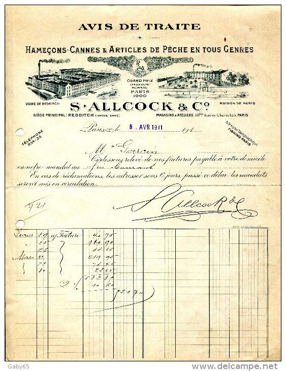 HAMEÇONS.CANNES & ARTICLES DE PECHE EN TOUS GENRES.S.ALLCOCK & Cie 171 RUE CHARENTON.PARIS. - France