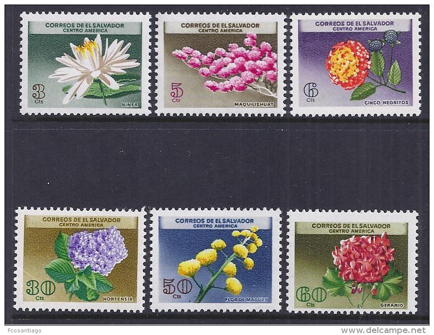 FLORES - EL SALVADOR 1964 - Yvert #697/702 - MNH ** - Pflanzen Und Botanik