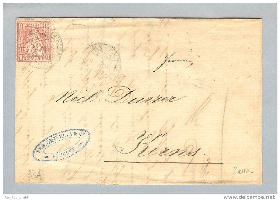 Heimat Schweiz Schiffspost Luzern-Flüelen 1868-12-18 Br.Flüelen>Kerns - 1862-1881 Helvetia Seduta (dentellati)