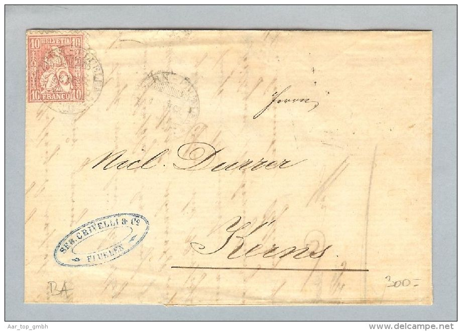 Heimat Schweiz Schiffspost Luzern-Flüelen 1868-12-18 Br.Flüelen>Kerns - Lettres & Documents