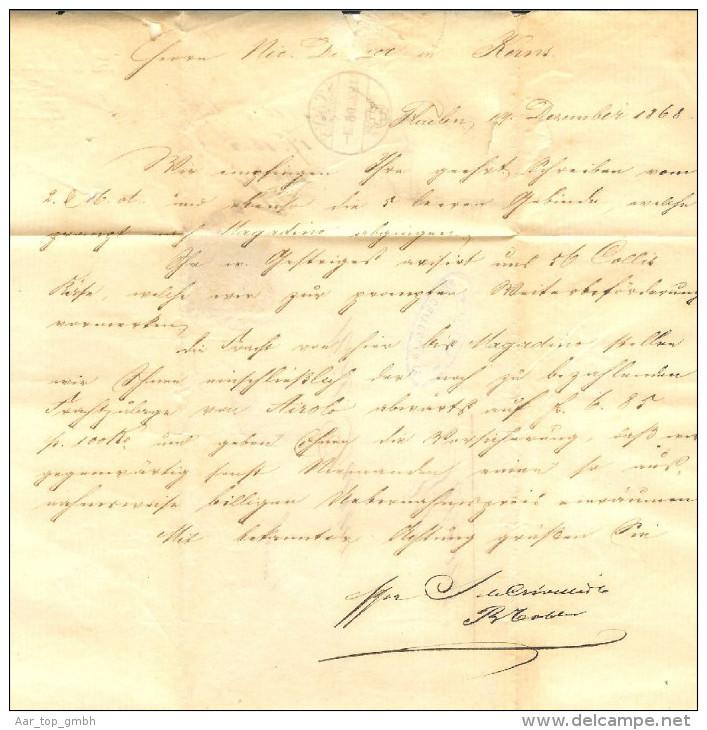 Heimat Schweiz Schiffspost Luzern-Flüelen 1868-12-18 Br.Flüelen>Kerns - Briefe U. Dokumente