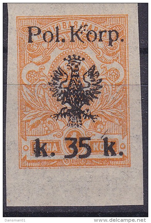 POLAND 1918 I POL CORPS Fi 13A Mint Hinged (not Signed) - Unused Stamps