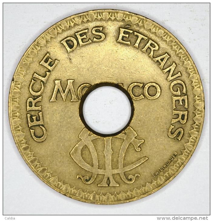 """Monaco Jeton Token 10 FRANCS Troué - ST DES BAINS DE MER - """""""" CERCLE Des ÉTRANGERS """""""" # 8 - Monaco"""