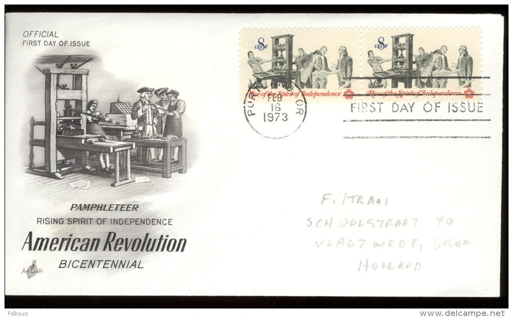 FDC 1973 - Scott 1476 - Cancelled  PORTLAND - PAMPHLETEER - WITH 2 STAMPS IN LINE - Premiers Jours (FDC)