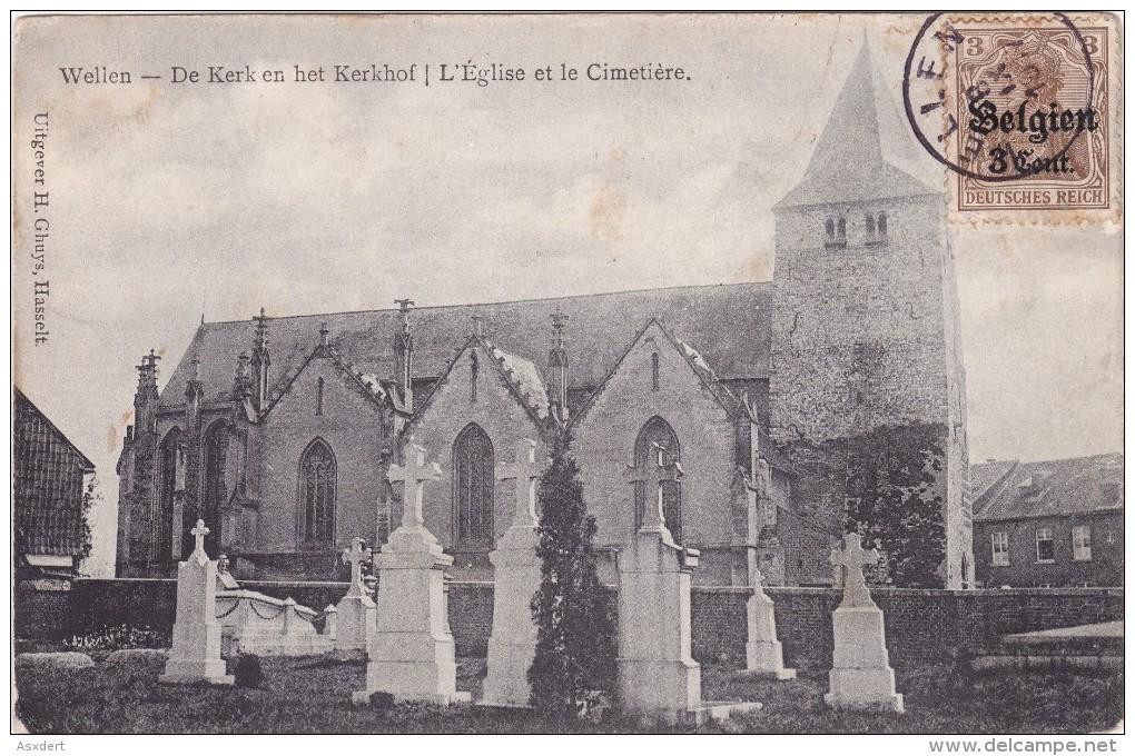 WELLEN - KERK En KERKHOF / CIMETIERE -  Fr. PAPY Onderwijzer -1917 - Wellen