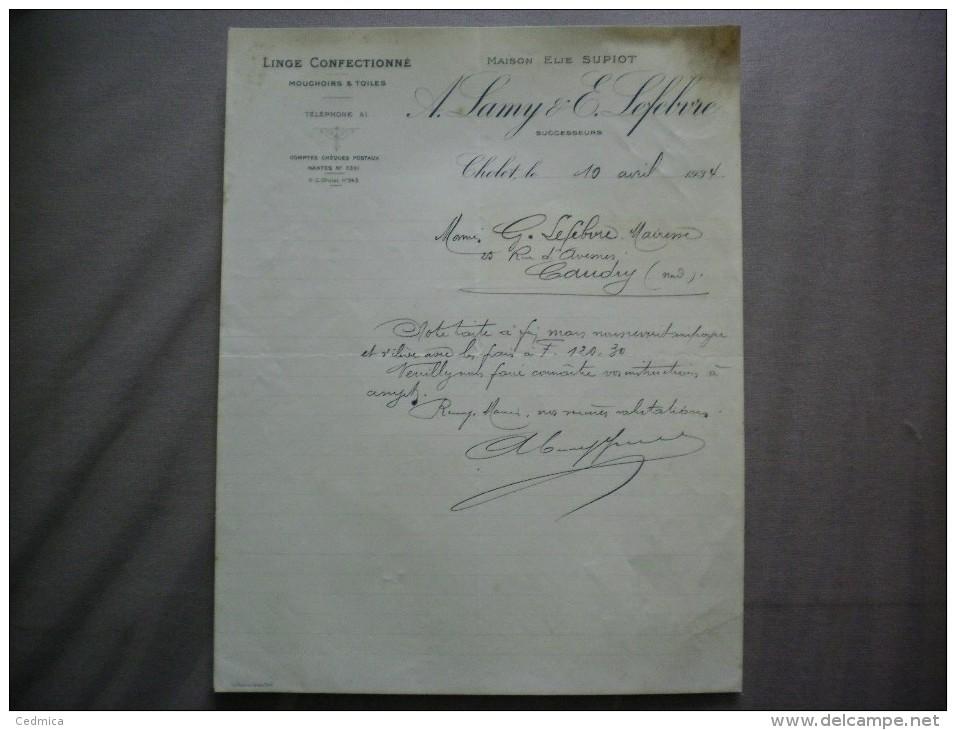 CHOLET  A.LAMY & E.LEFEBVRE MAISON ELIE SUPIOT LINGE CONFECTIONNE MOUCHOIRS & TOILES COURRIER DU 10 AVRIL 1934 - Textile & Vestimentaire