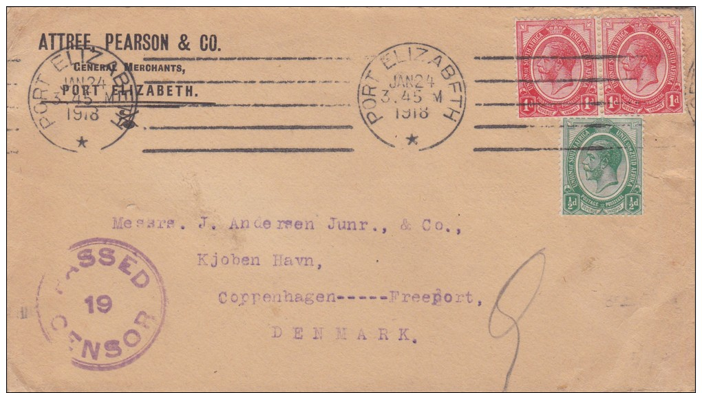 South Africa; Censored Cover To Denmark 1918 - Afrique Du Sud (...-1961)