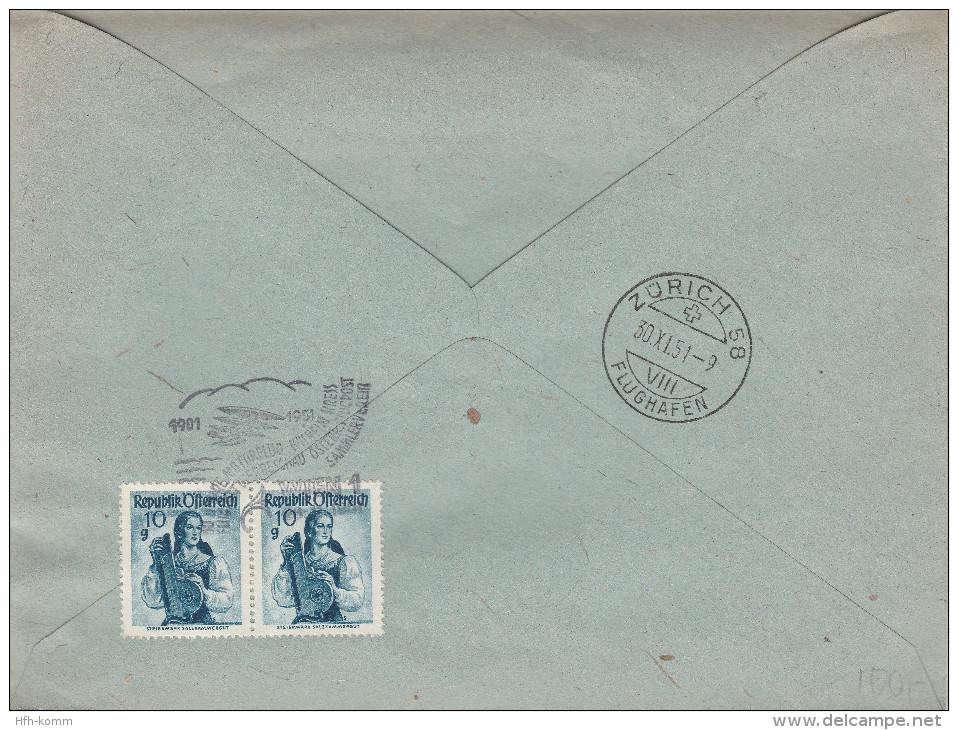 """RAR RAR Flugpost-Adresszettel 2a +Zusatzfrankatur 954""""Johann Strauss""""Portogerechter Zensurbrief (Zensur:717) Wien-Zürich - 1945-.... 2. Republik"""