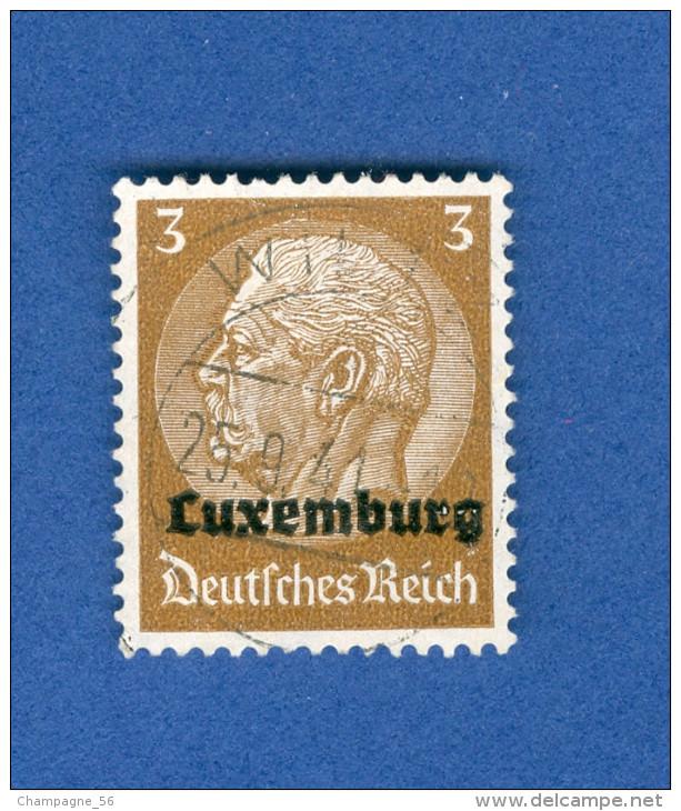 LUXEMBOURG ANNEE 1940 N° 1 HINDENBURG SURCHARGES  OBLITERE 3 SCANNE DESCRIPTION - 1940-1944 Deutsche Besatzung