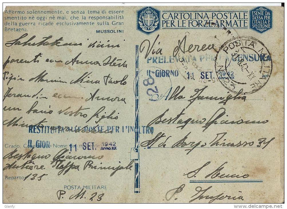 FRANCHIGIA WWII POSTA MILITARE 23 1942 ATENE GRECIA X SANREMO - Posta Militare (PM)