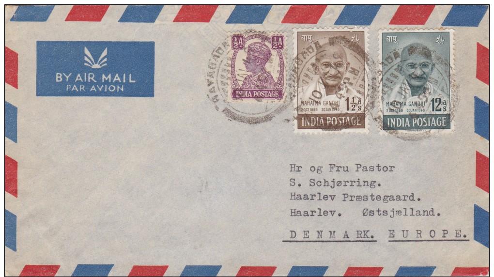 India; Cover To Denmark 1949 - GANDHI - 1947-49 Dominion