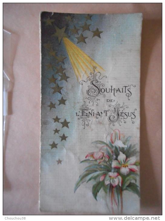"""IMAGEpieuse  Ancienne Double """"SOUHAITS DE L'ENFANT JESUS""""  (BOUASSE 489) - Religion & Esotericism"""