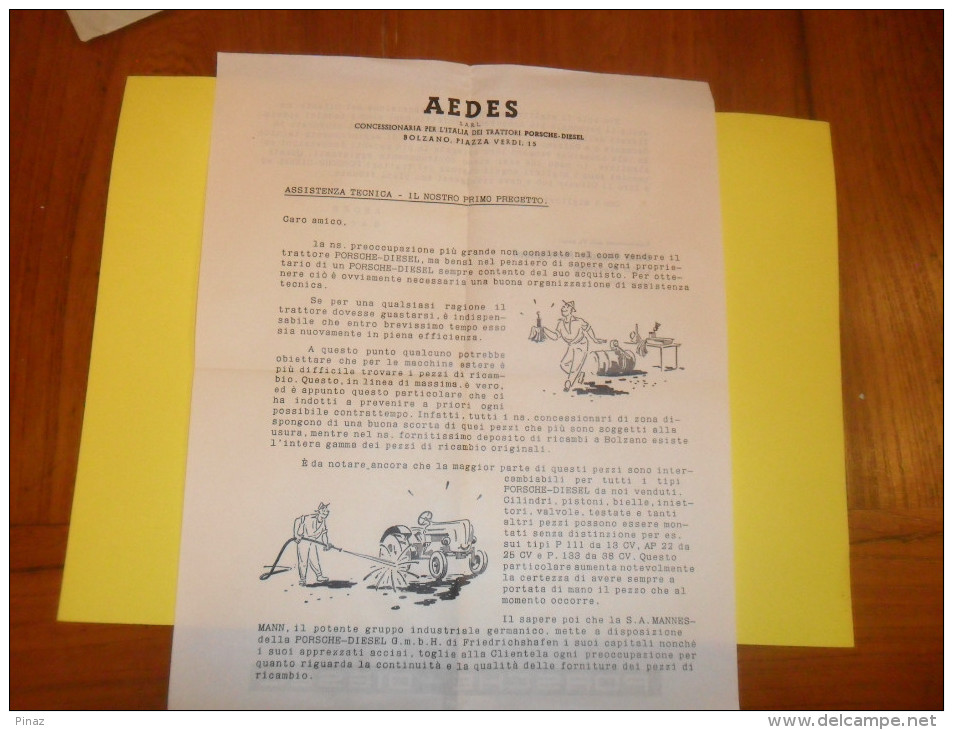 BUSTA PUBLICITARIA    AEDES   Macchine Agricole  Con ANNULLO TARGHETTA   X  FIERA DI BOLZANO 1957 - Tracteurs