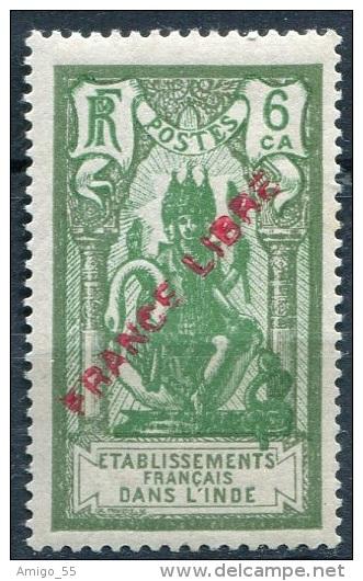 FRENCH INDIA 1941 6 Ca. France Libre Overprint, Yvert 135, MNH ** - India (1892-1954)