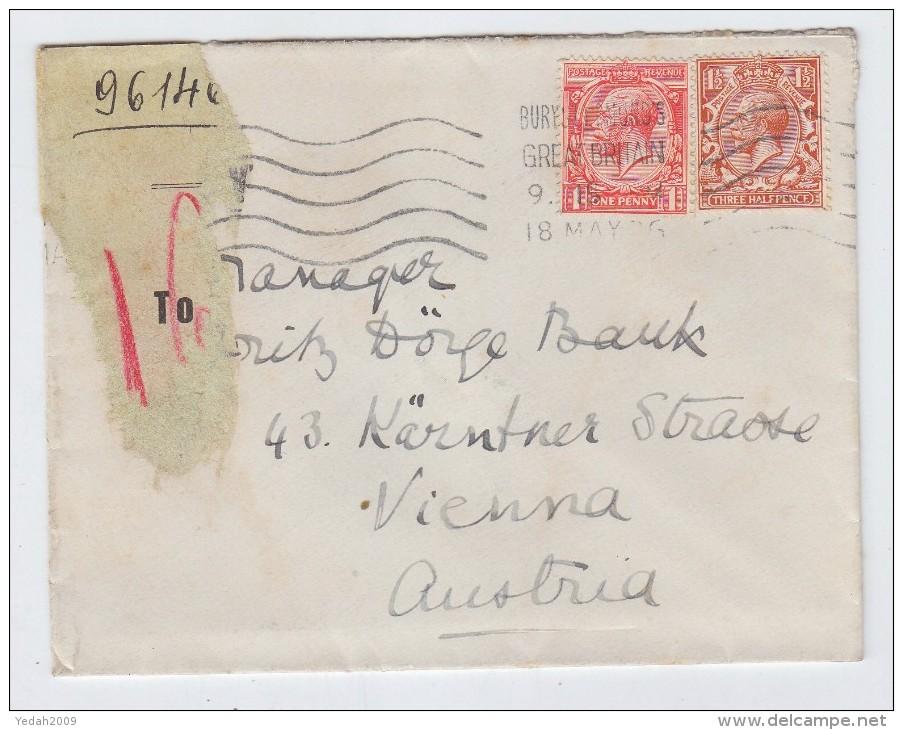 Great Britain/Austria SLOGAN CANCEL COVER 1926 - 1902-1951 (Rois)
