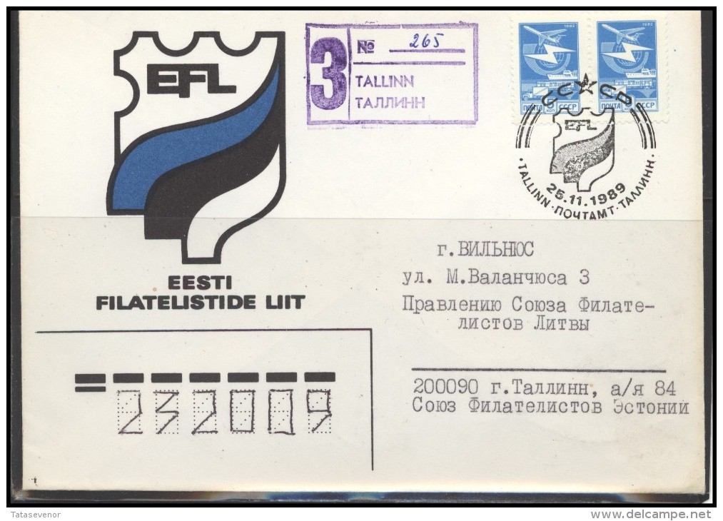 RUSSIA USSR Private Stationery Special Cancellation USSR Se SPEC 89-NNN-1 ESTONIA Philatelic Society - 1923-1991 USSR