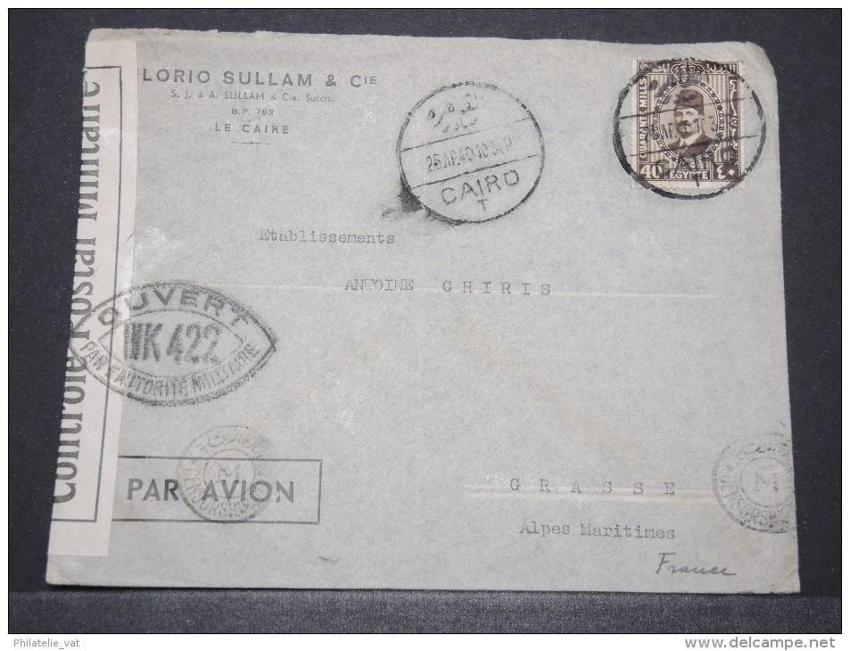 EGYPTE - Env Avec Censure Du Caire Pour Grasse Alpes Maritimes - Avril 1940 - A Voir - P17168 - Covers & Documents