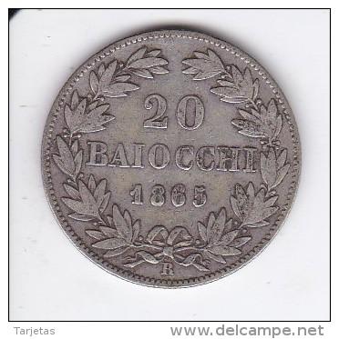 MONEDA PLATA DE VATICANO DE 20 BAIOCCHI DEL AÑO 1865  (COIN) PIUS IX - Vaticano (Ciudad Del)