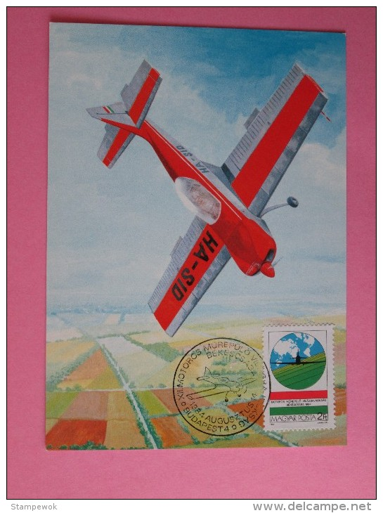 1984 Hungary - Aerobatic Championships - FDC Maxicard (Aviation)(Flag)(Map) - FDC