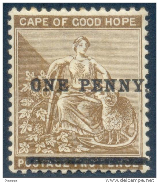 Cape Of Good Hope 1893. 1d On 2d Bistre (wmk. Anchor). SACC 52*, SG 57*. - Südafrika (...-1961)