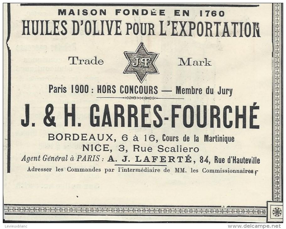 Huile D'Olive/Encart Publicitaire/Garres-Fourche/BORDEAUX-NICE/Catalogue Export Lacarriére/1901   ILL67 - Alimentaire
