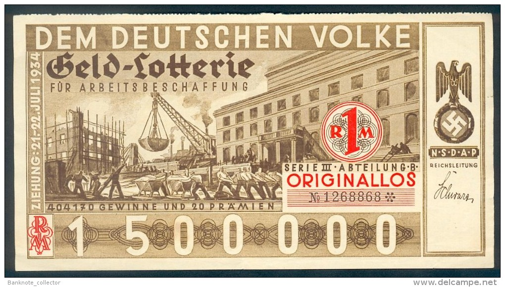 "Deutschland, Germany - "" DEM DEUTSCHEN VOLKE "", GELDLOTTERIE, FOTO & DOKUMENT Der NSDAP, 1934 ! - Unclassified"