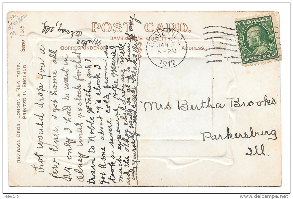 Sailboat To Wish You Joy Vintage 1912 Davidson Brothers Postcard - Holidays & Celebrations
