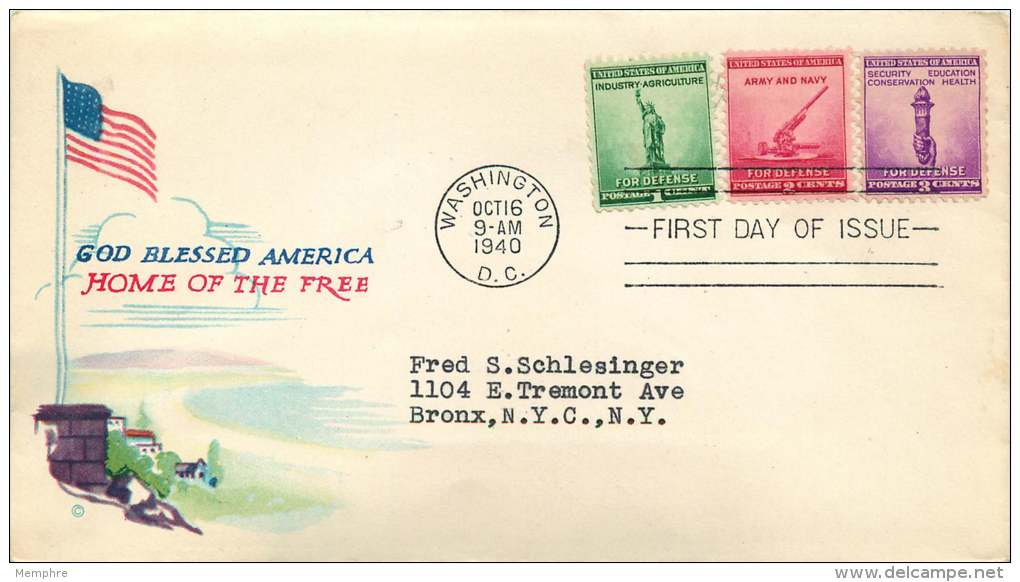 1940   Defense Set Of 3 On Single Cover  Sc 899-901  Minkus Cachet - First Day Covers (FDCs)