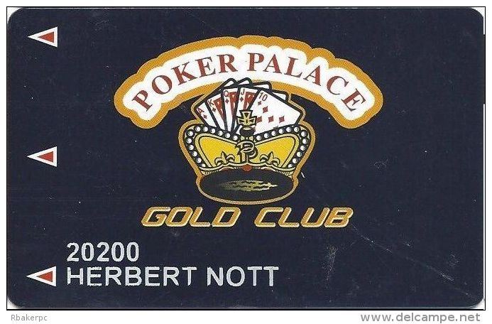 Poker Palace Casino Las Vegas, NV - PRINTED Gold Club Slot Card - 2 Lines Text In First Paragraph - Casino Cards