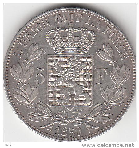 BELGIUM 1850 LEOPOLD I. 5 FRANCS FRANK SILVER COIN - 1831-1865: Léopold I