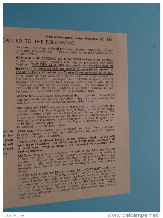 """RMS """" QUEEN MARY """" CUNARD Line - LANDING Arrangements - Anno 1955 ( 8/55. L.P. 33/111. ) ! - Bateaux"""